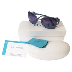 New Emilio Pucci Teal Blue Aviator Sunglasses With Case & Box
