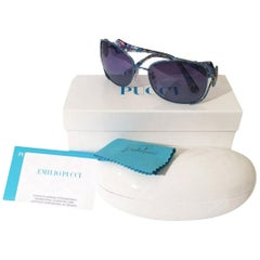 New Emilio Pucci Teal Blue Aviator Sunglasses With Case & Box