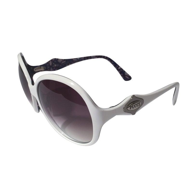 New Emilio Pucci White Logo Sunglasses  With Case & Box 5