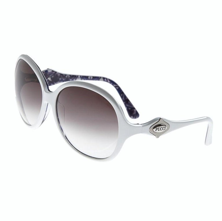 Emilio Pucci Sunglasses Brand New * Stunning Classic Pucci Sunglasses * Classic White Frames * Pucci Print Interior: * Purple, White & Silver Interior * Silver Pucci Logo on Both Sides * Handmade ZYL in Italy * 100% UV Protection * Comes with Case,