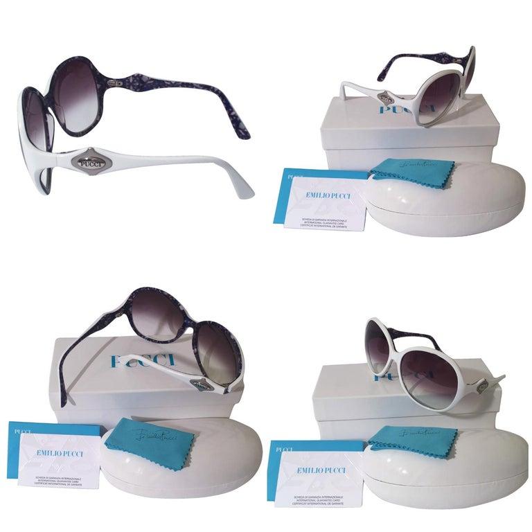 New Emilio Pucci White Logo Sunglasses  With Case & Box In New Condition In Leesburg, VA