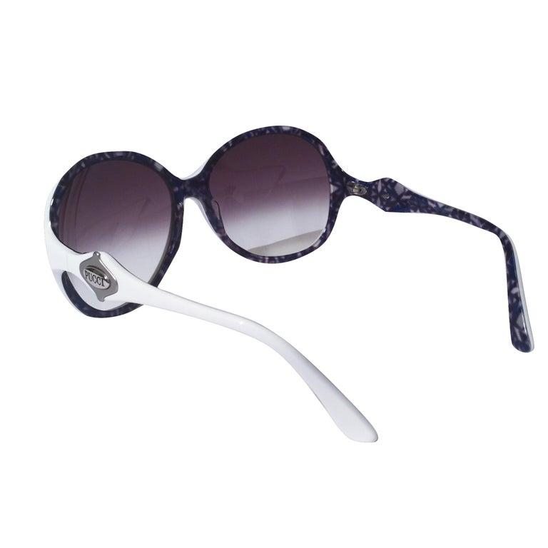 New Emilio Pucci White Logo Sunglasses  With Case & Box 1