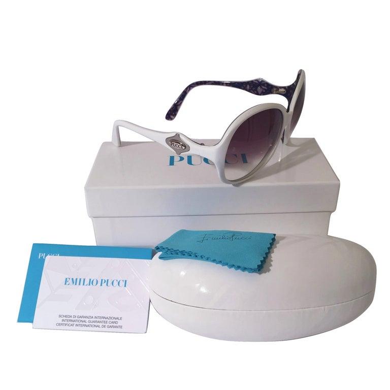 New Emilio Pucci White Logo Sunglasses  With Case & Box 3