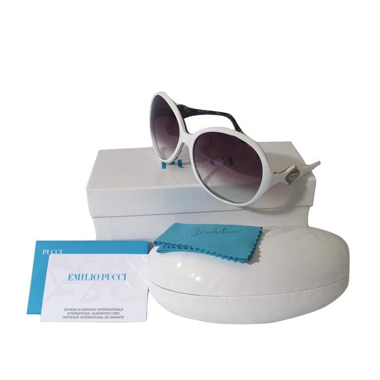 New Emilio Pucci White Logo Sunglasses  With Case & Box 4
