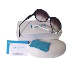New Emilio Pucci White Logo Sunglasses  With Case & Box