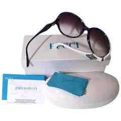 New Emilio Pucci White Logo Sunglasses  With Case & Box