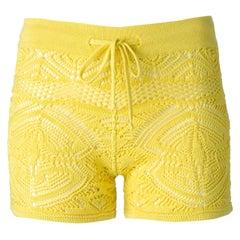NEW Emilio Pucci Yellow  Crochet Knit Shorts Hot Pants