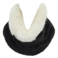 new EMPORIO ARMANI black white faux fur snood circle scarf