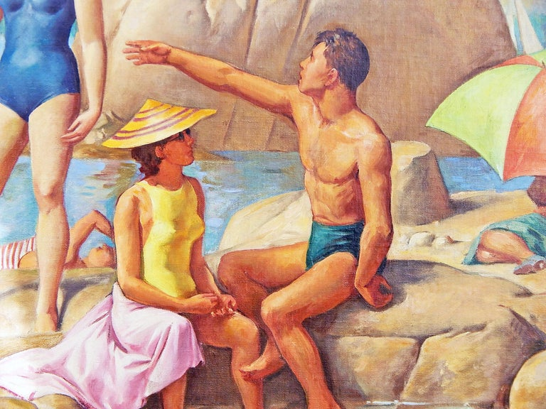 Full of sunlight and brilliant color, this scene of swimmers and boaters cavorting and sunning among the large boulders along the edge of Wingaersheek Beach in Cape Ann, on the north shore of Boston, is an important depiction of 1930s life in
