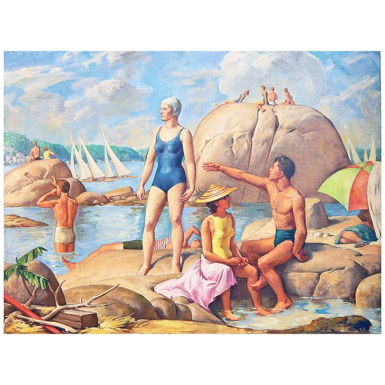 """""""Cape Ann, Wingaersheek Beach"""" Exhibited National Academy of Design, 1944 For Sale"""