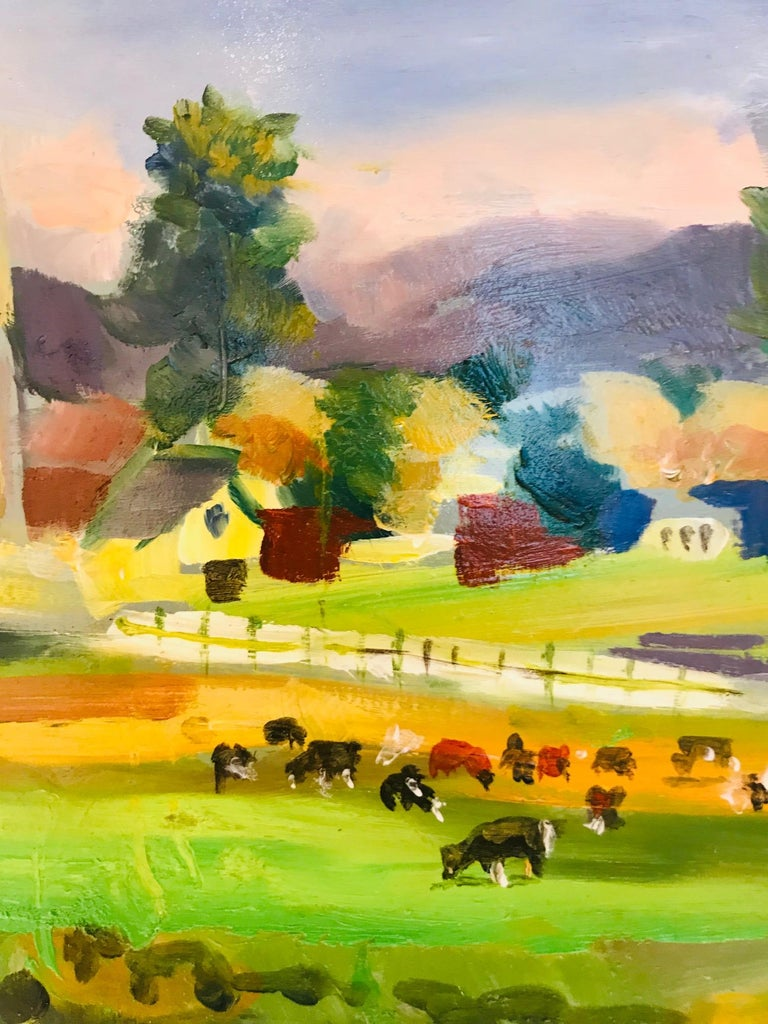 New England Farm Impressionist Landscape Painting in Custom Frame by John Reilly For Sale 3