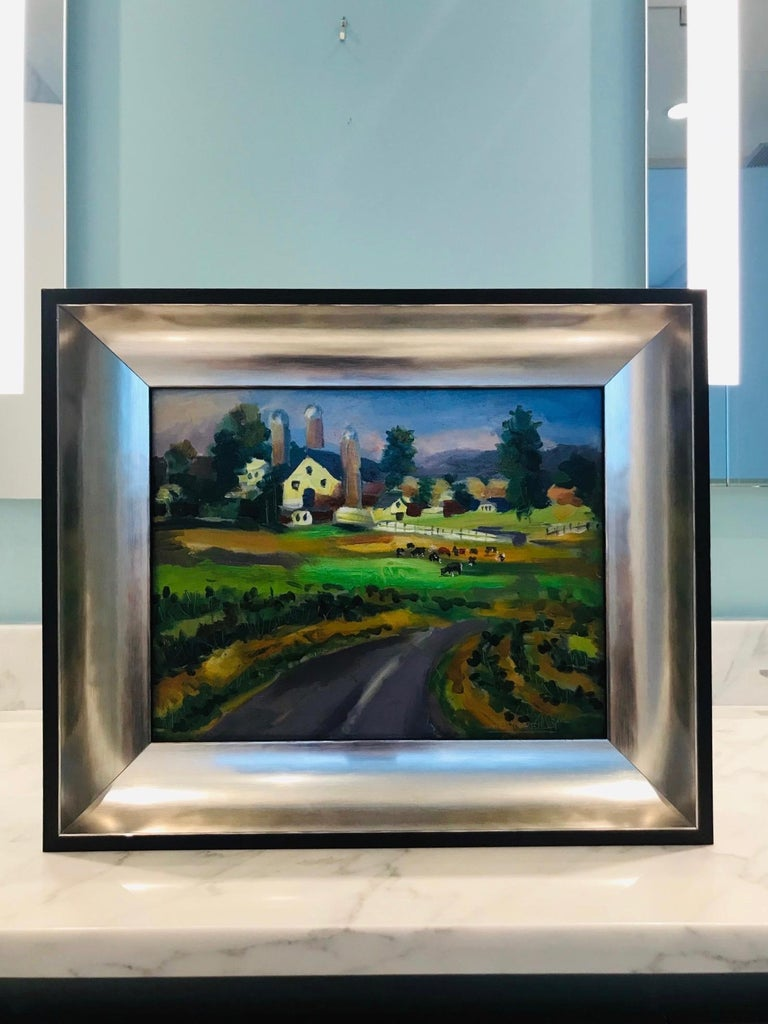 New England Farm Impressionist Landscape Painting in Custom Frame by John Reilly For Sale 7