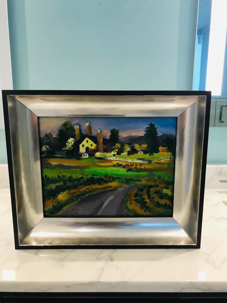American New England Farm Impressionist Landscape Painting in Custom Frame by John Reilly For Sale