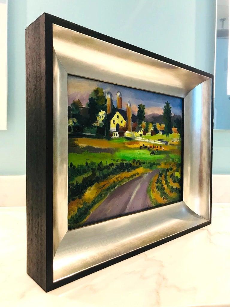 Ebonized New England Farm Impressionist Landscape Painting in Custom Frame by John Reilly For Sale