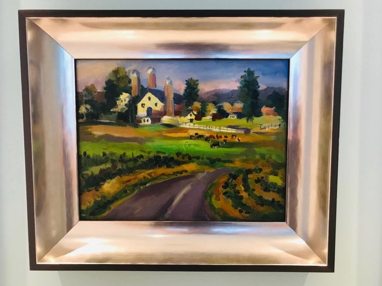 New England Farm Impressionist Landscape Painting in Custom Frame by John Reilly In Excellent Condition For Sale In Miami, FL