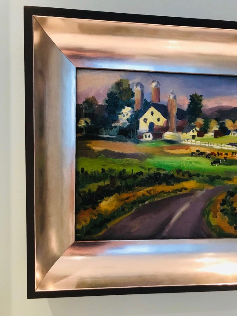 Contemporary New England Farm Impressionist Landscape Painting in Custom Frame by John Reilly For Sale