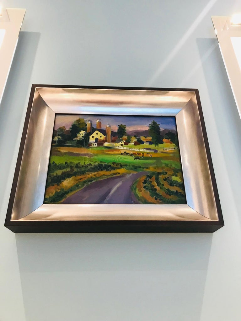 Wood New England Farm Impressionist Landscape Painting in Custom Frame by John Reilly For Sale