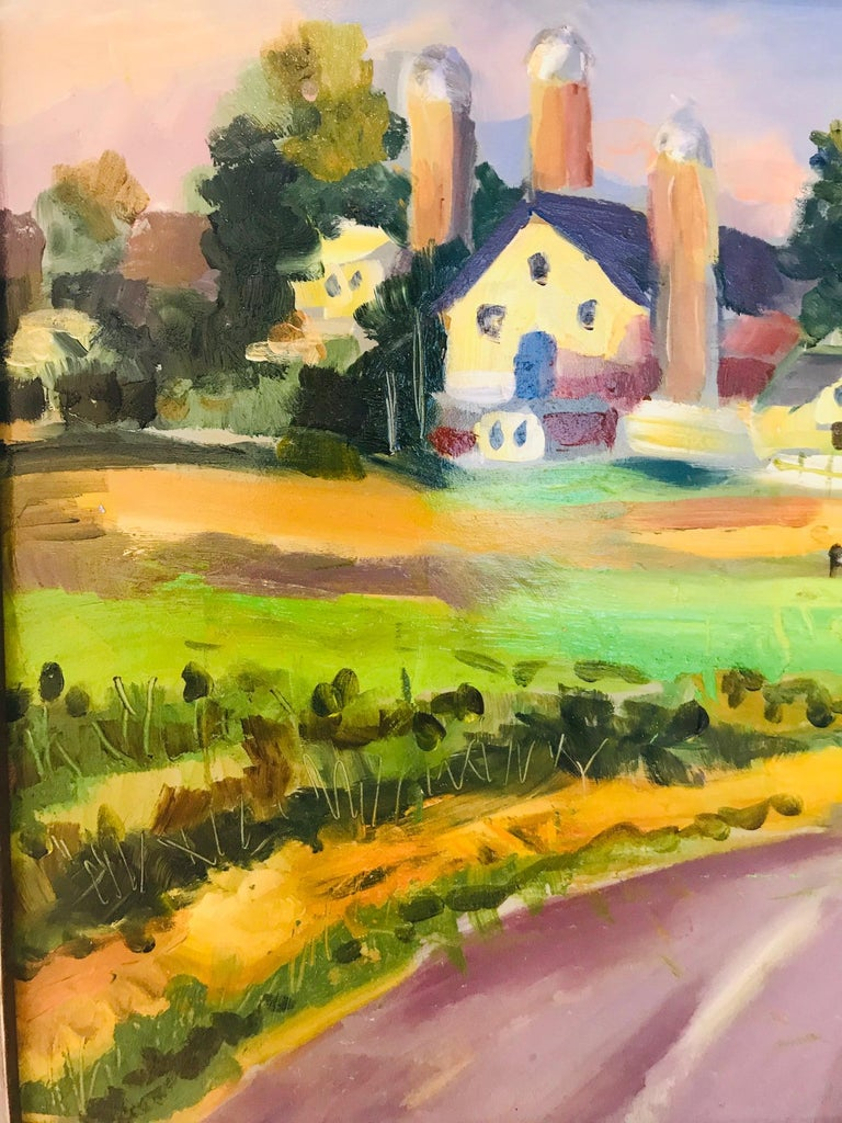 New England Farm Impressionist Landscape Painting in Custom Frame by John Reilly For Sale 1