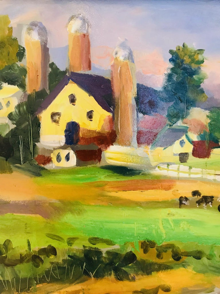 New England Farm Impressionist Landscape Painting in Custom Frame by John Reilly For Sale 2