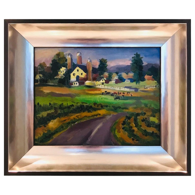 New England Farm Impressionist Landscape Painting in Custom Frame by John Reilly For Sale