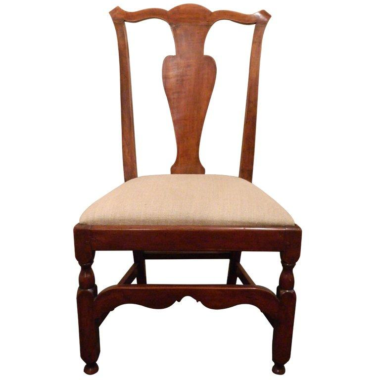 New England Maple Chippendale Style Desk or Side Chair, 19th Century