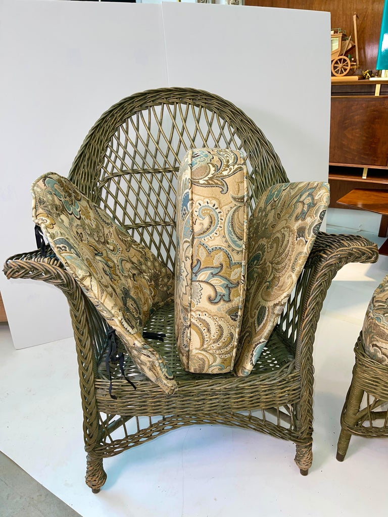 New England Reed Co. Pair Wicker Armchairs and Ottoman For Sale 5