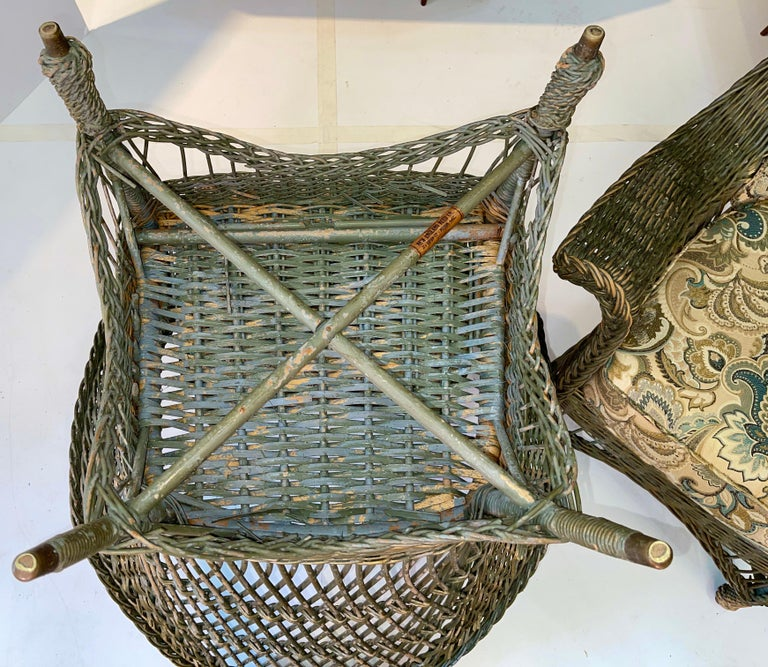 New England Reed Co. Pair Wicker Armchairs and Ottoman For Sale 7
