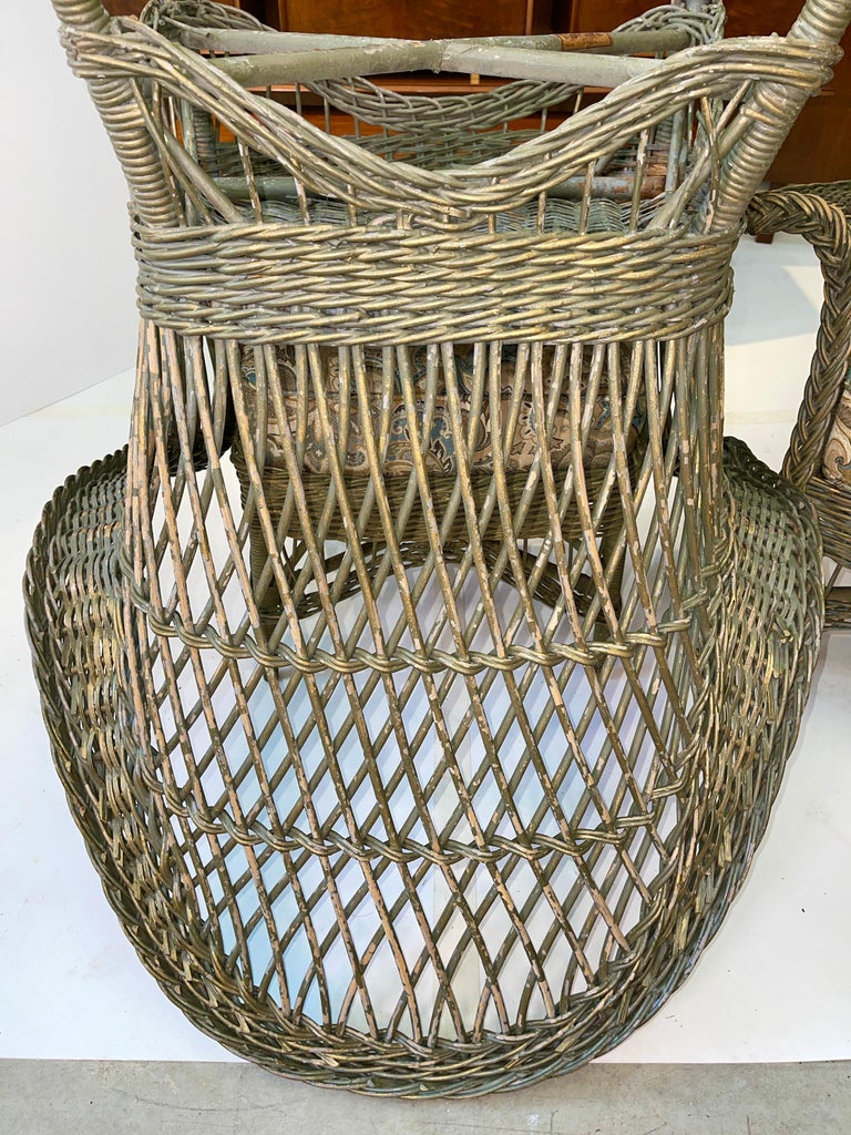 New England Reed Co. Pair Wicker Armchairs and Ottoman For Sale 8