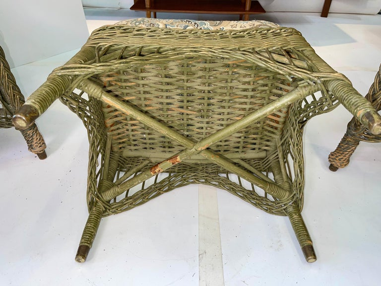 New England Reed Co. Pair Wicker Armchairs and Ottoman For Sale 9