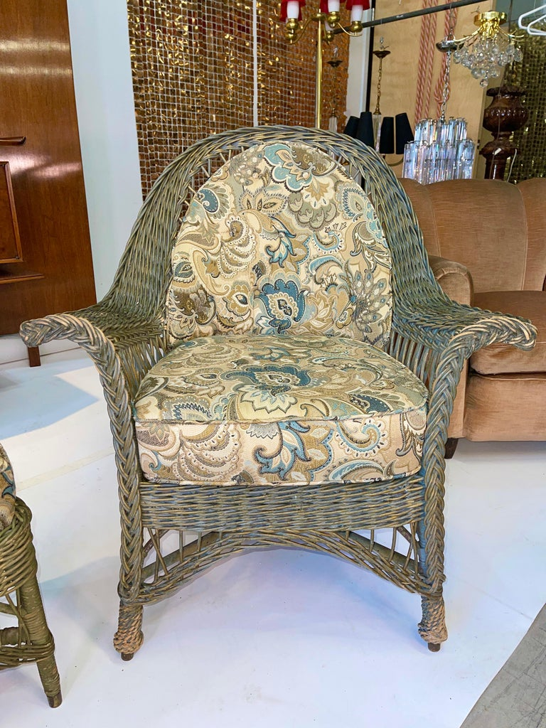 Edwardian New England Reed Co. Pair Wicker Armchairs and Ottoman For Sale