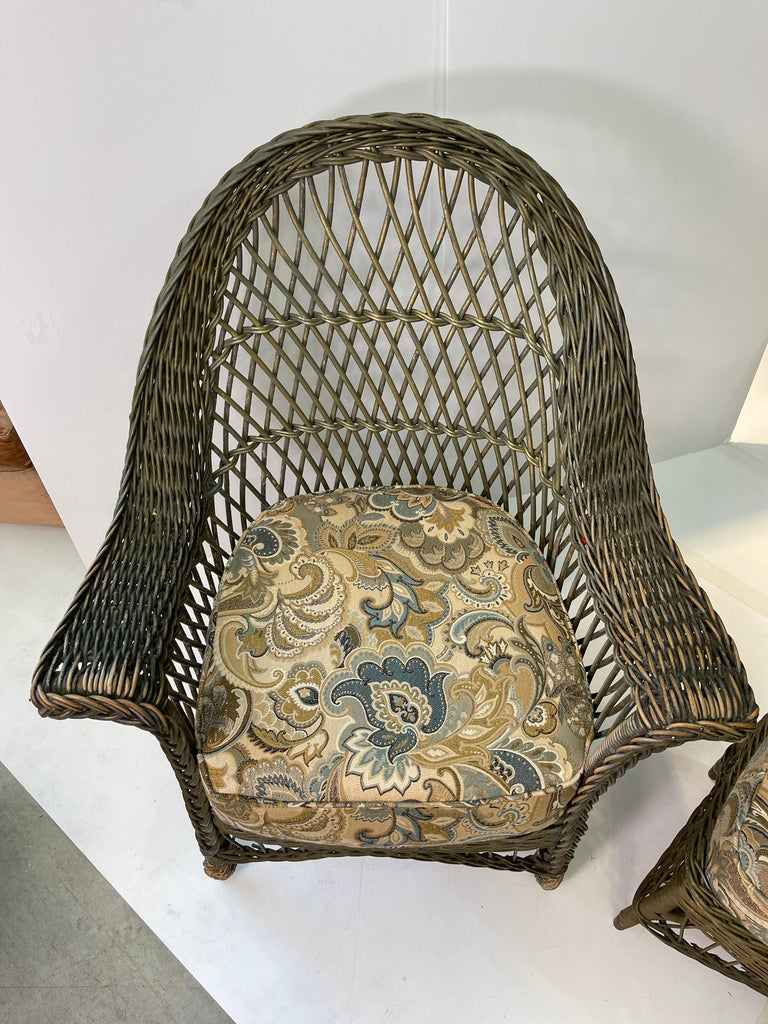American New England Reed Co. Pair Wicker Armchairs and Ottoman For Sale