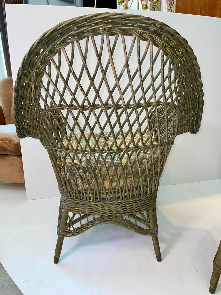 New England Reed Co. Pair Wicker Armchairs and Ottoman In Good Condition For Sale In Hingham, MA