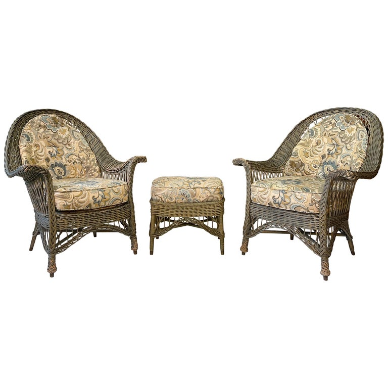 New England Reed Co. Pair Wicker Armchairs and Ottoman For Sale