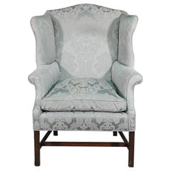 New England Style Mahogany Hepplewhite Wing Chair with Damask Upholstery