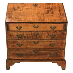 New England Tiger Maple Chippendale Slant Front Desk, circa 1760