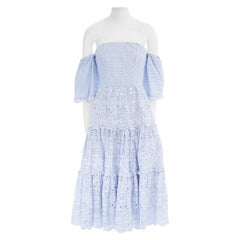 new ERDEM Runway blue striped cotton floral embroidery off shoulder dress US4 S