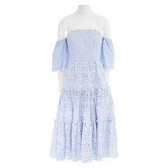 new ERDEM Runway blue striped cotton floral embroidery off shoulder dress US6 M