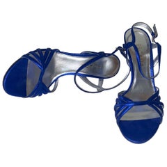 NEW Escada Blue Metallic Leather Strappy High Heels Sandals