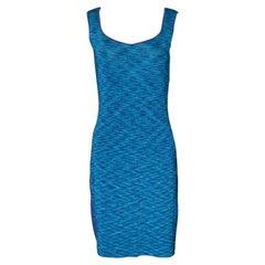 NEW Escada Metallic Blue Aqua Knit Dress