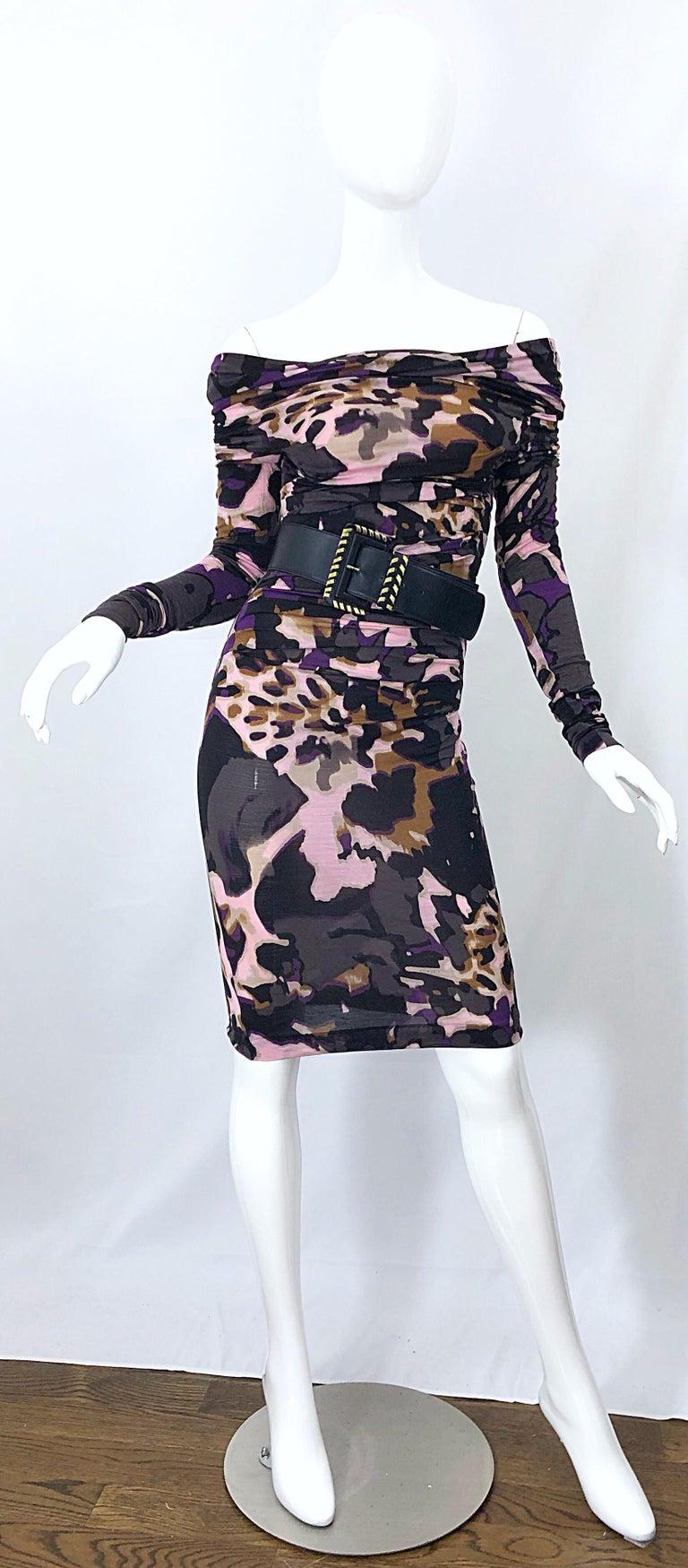 New ESCADA Multi Animal Leopard Print Lightweight Wool Off The Shoulder Dress For Sale 6