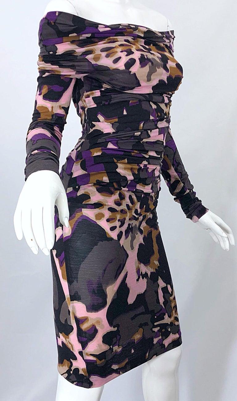 New ESCADA Multi Animal Leopard Print Lightweight Wool Off The Shoulder Dress For Sale 7
