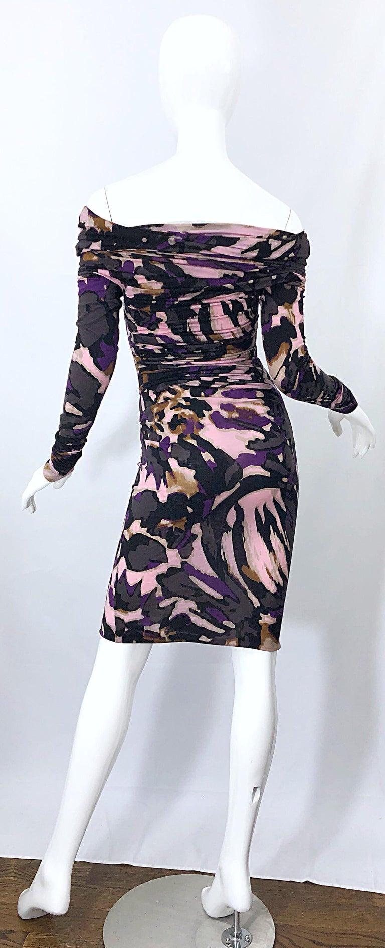 New ESCADA Multi Animal Leopard Print Lightweight Wool Off The Shoulder Dress For Sale 8