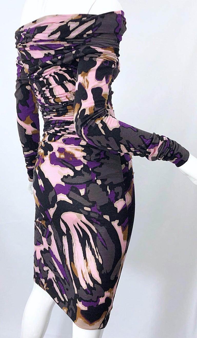 New ESCADA Multi Animal Leopard Print Lightweight Wool Off The Shoulder Dress For Sale 11