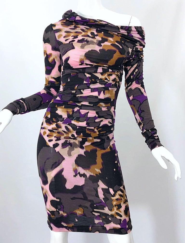 New ESCADA Multi Animal Leopard Print Lightweight Wool Off The Shoulder Dress For Sale 12