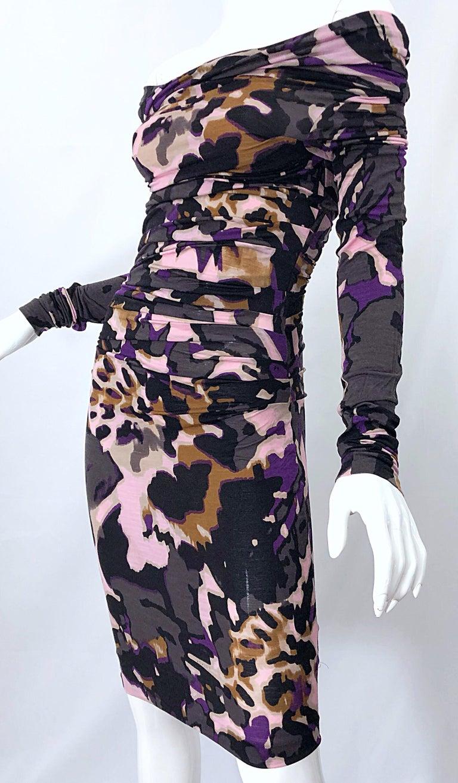 New ESCADA Multi Animal Leopard Print Lightweight Wool Off The Shoulder Dress For Sale 13
