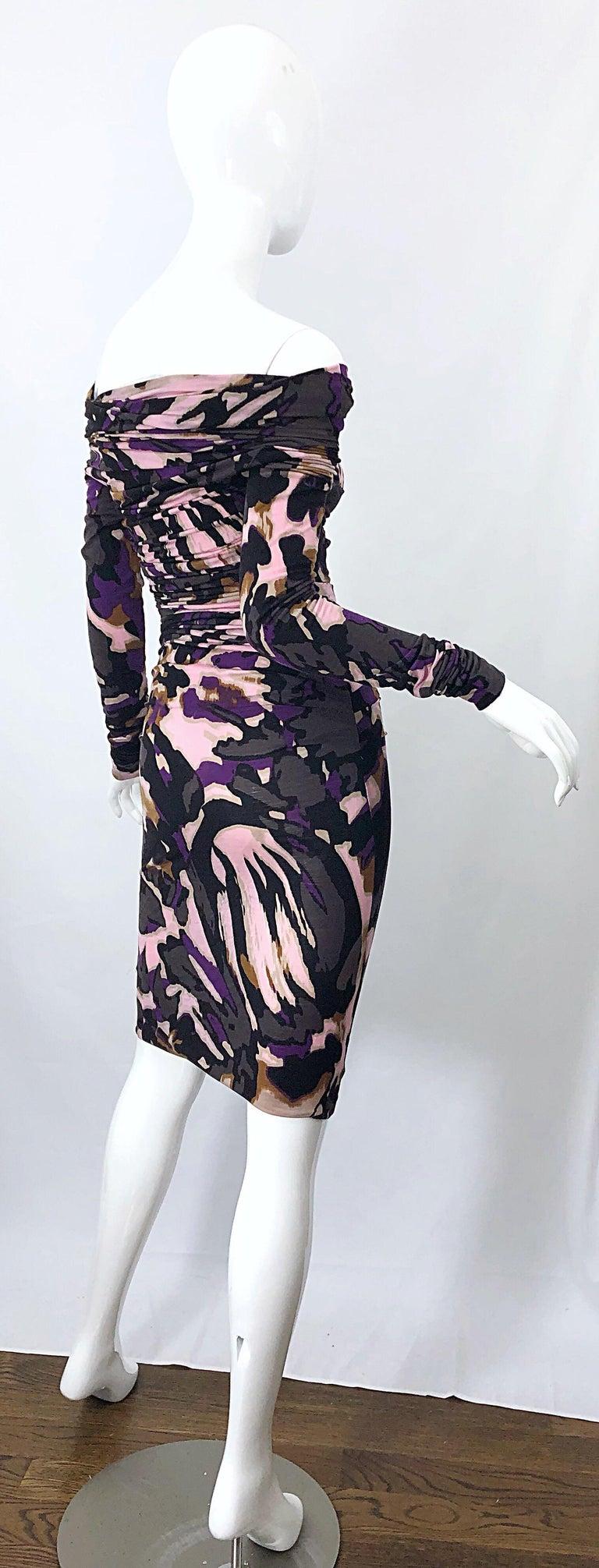 Women's New ESCADA Multi Animal Leopard Print Lightweight Wool Off The Shoulder Dress For Sale