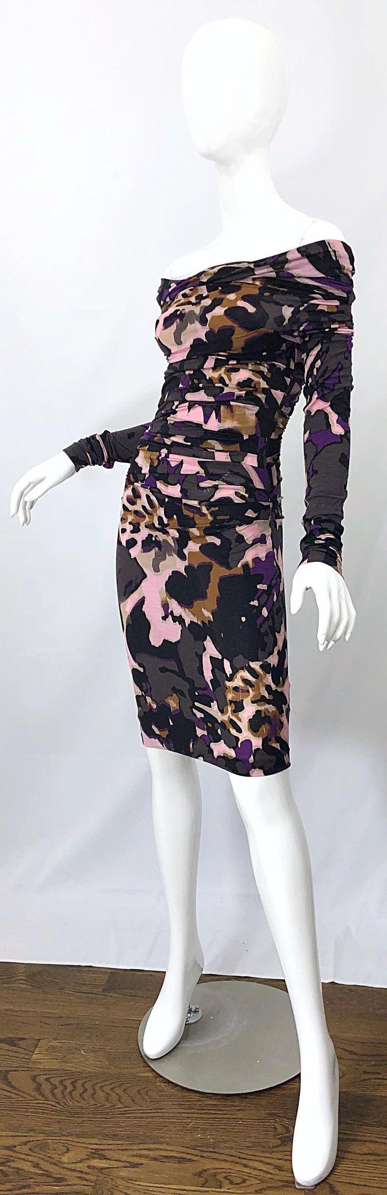 New ESCADA Multi Animal Leopard Print Lightweight Wool Off The Shoulder Dress For Sale 2