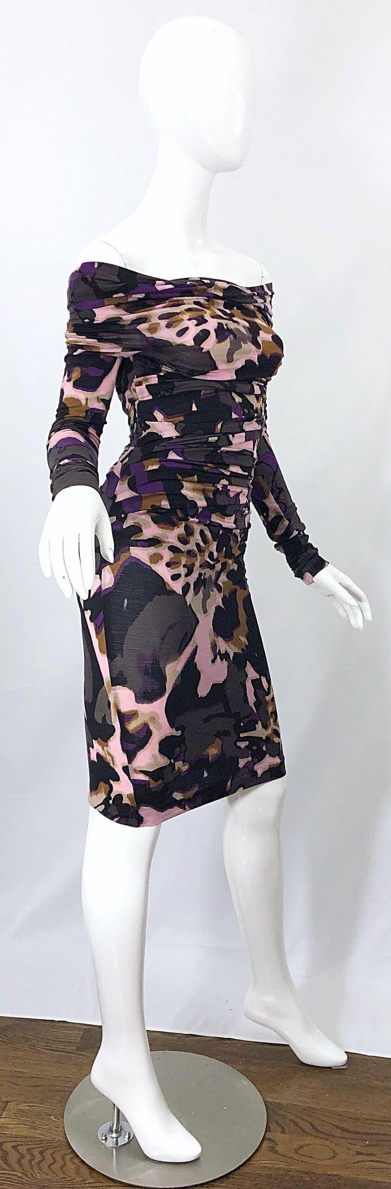 New ESCADA Multi Animal Leopard Print Lightweight Wool Off The Shoulder Dress For Sale 3