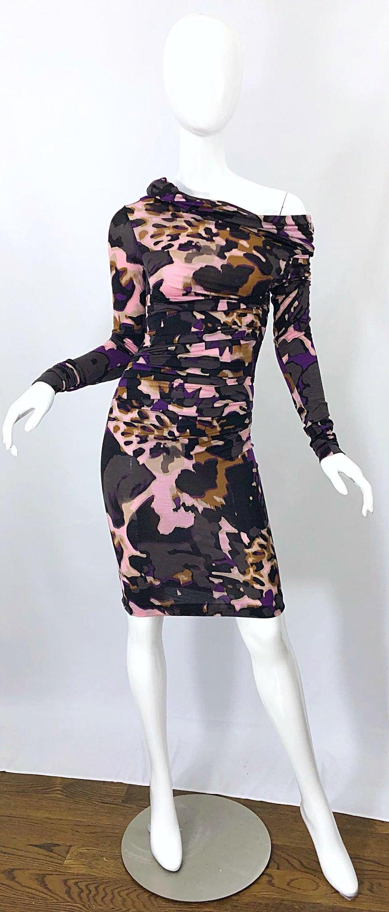New ESCADA Multi Animal Leopard Print Lightweight Wool Off The Shoulder Dress For Sale 4