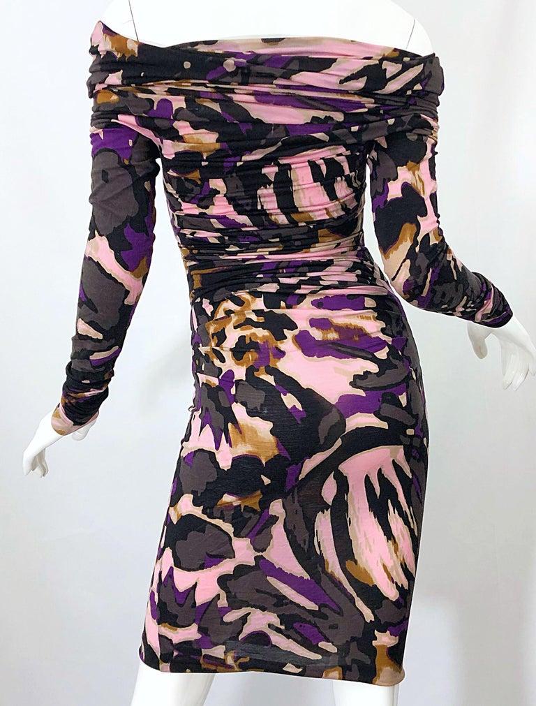 New ESCADA Multi Animal Leopard Print Lightweight Wool Off The Shoulder Dress For Sale 5
